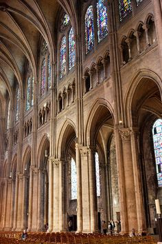 Chartres Cathedral, nave looking north-west, built (1194-1220).