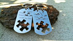Best Friends Keychains - Bridesmaid Gifts - Puzzle Piece Jewelry - Hand Stamped Keychains - Graduation Gift - BFF - Friends Forever Keychain...