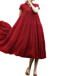 Vintage Women Short Sleeve V Neck Ruffles Pure Color Big Skirt Dress - Christmas Deesserts Vintage Dresses Online, Vintage Style Dresses, Swing Dress, Dress Skirt, Big Skirts, Ruffles, Dress Outfits, Vintage Ladies, Vintage Fashion