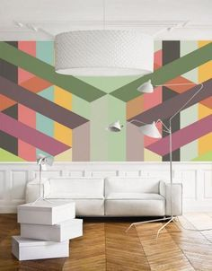 pastel room colors and creative wallpaper for modern interior decorating