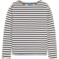 M.i.h Jeans Striped cotton-jersey top (1.459.850 IDR) ❤ liked on Polyvore featuring tops, clothing - ls tops, sweaters, white, white top, print top, breton stripe top, breton top and relaxed fit tops