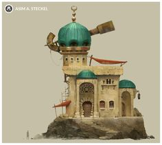 Observatory of the Seers, Asim Steckel on ArtStation at https://www.artstation.com/artwork/YRrd3