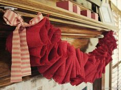 Ruffled burlap in Valentine's red...for Christmas or Valentine's or because I love the color red!!