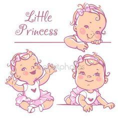 Скачать - Маленький ребенок девочка набор — стоковая иллюстрация #110299544