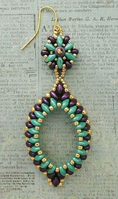 Linda's Crafty Inspirations: Pendientes Gota con Superduo - Turquoise & Pewter