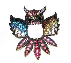 Large Vintage Scarf/Fur Owl Clip with Multi-colored rhinestones by wowitems4less,