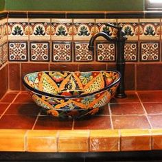Superb Mexican Tiles convention Austin Mediterranean Bathroom Remodeling ideas with bathroom decorative tile hacienda Mexican tile rustic talavera sink talavera tile Bathroom Styling, Mexican Tile Bathroom, Remodel, Mexican Style Homes, Mediterranean Bathroom, Mexican Home Decor, Talavera Tiles, Spanish Decor, Small Bathroom Decor