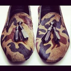 Pony Hair Camo Loafers with Leather Tassles. Men's Spring Summer fashion.