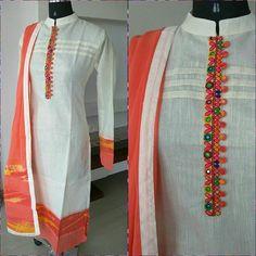 New Stylish & Trendy Kurti Neck Designs For Your Amazing Look - Kurti Blouse Kurti Neck Designs, Dress Neck Designs, Salwar Designs, Blouse Designs, Indian Attire, Indian Wear, Indian Outfits, Kurta Patterns, Dress Patterns