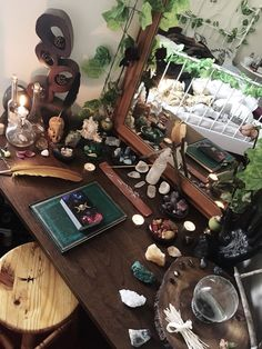 """curuni: """"Reasons why my altar is so important to me; 🔮 It's the one thing I have complete control over in my life, I can change it, add things, take things away, destroy it and build it back up again-. Crystal Room, Crystal Altar, Witch Room, Hippy Room, Crystal Aesthetic, Spiritual Decor, Pretty Room, Aesthetic Room Decor, Room Ideas Bedroom"""
