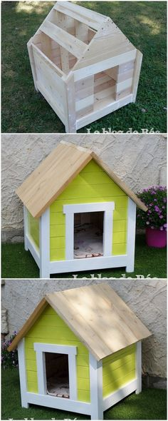 This is somehow a wonderful designed pet house design of wood pallet where you will view the best impact of mixing the hut or cabin design of appearances right over it. Definitely your pet would be finding the pet house project work so interesting and finally a relaxed place to have a comfort zone sleep.