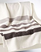 """Few things say """"Canada"""" more than the iconic Hudson Bay Company point blanket. This neutral grey wool provides a classic and cozy addition to any cabin in the woods!  Millenium Point Blanket  #CDNGetaway!"""