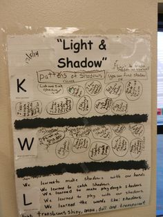 Light and Shadow - What do you KNOW?  WHAT would you like to learn?  What did you LEARN?