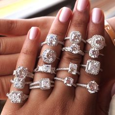 Designs By Kamni Engagement Rings Inspire - white gold and diamond engagement rings, ring selfie, ring stack