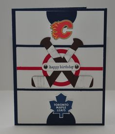 Birthday Card for a Hockey Fan - Great idea for Justin - just need the Red Wings and Islanders in place of Maple Leafs and Flames!