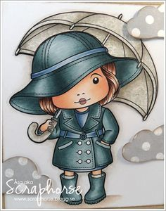 | Page 68 ~Copics: Skin: E11-21-000-0000-R11 Hair: E49-25-21 Clothes: BG78-75-72-71 / B97-95-93-91  I have paper pieced the umbrella and colored the shadows with W3-1-0.