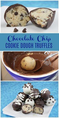 Chocolate Chip Cookie Dough Truffles recipe from chocolatechip cookiedough truffles recipe RecipeGirl via recipegirl # Cookie Dough Truffles, Cookie Dough Recipes, Candy Recipes, Sweet Recipes, Baking Recipes, Dessert Recipes, Cookie Truffle Recipe, Cookie Dough Cake Pops, Cookie Desserts