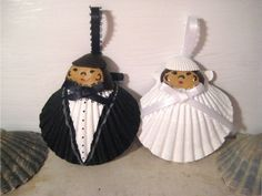 Bride and Groom Seashell Ornaments. Hand painted Cape Cod, destination, beach wedding ornaments