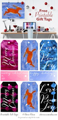 My Gift to You: Free Printable Holiday Gift Tags — Chris Coco Media Christmas Gift Tags Printable, Free Printable Gift Tags, Holiday Gift Tags, Holiday Parties, Free Printables, Christmas Gifts, Christmas Decorations, Card Stock, Stationery