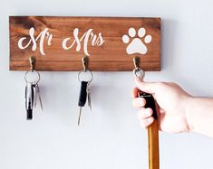 Key and Lead Holders and other Wooden Signs by CaramelWoodcrafts - The Concrete Letter Dog Lover Gifts, Dog Gifts, Dog Lovers, Wall Key Holder, Pretty And Cute, Wooden Walls, Wooden Signs, House Warming, Gifts For Women