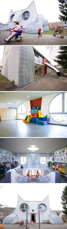 Cat Shaped school Located in Wolfartsweier, Germany and designed by Tomi Ungerer.