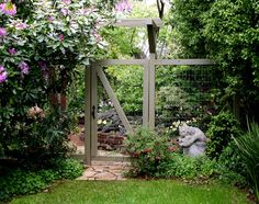 Wire mesh fencing with solid wood great for secret gardens