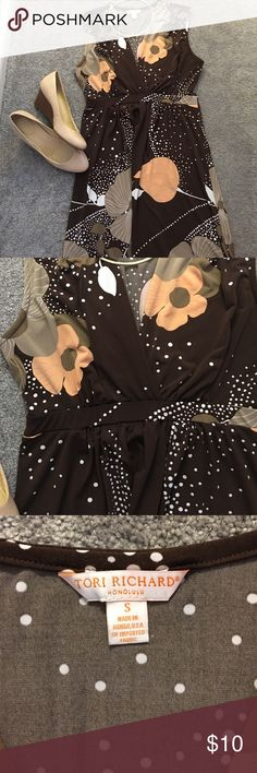 Lovely dress Brown dress with peach patterns. V neck dress that hits at the knee. Great fabric.  No ironing needed. Great to wear to work too. Tori Richard Dresses Midi