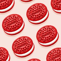 In the food and fashion collaboration we weren't anticipating, Supreme and Oreo have teamed up to make the red and white cookie we didn't know we needed. Pastel Red, Pretty Pastel, Easter Cookies, Oreo Cookies, White Fluffy Chair, Tiramisu Oreo, Supreme Accessories, Supreme Wallpaper, Cute Hamsters