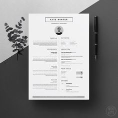Minimal Resume Template for Word 1 & 2 Page CV by OddBitsStudio