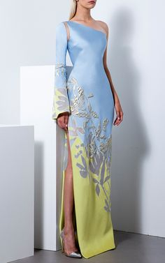 Shop One Shoulder Gown. This **Romona Keveza** gown features a frida kahlo inspired print, one shoulder with detachable long sleeve, and a side slit. Elegant Dresses, Sexy Dresses, Beautiful Dresses, Fashion Dresses, Party Dresses, Couture Fashion, Runway Fashion, Fashion Models, High Fashion
