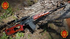 """A MOLOT VEPR 7.62x54R dressed out to look somewhat like a SVD or PSL. VEPR is Ukrainian for, """"Wild Boar"""". Mechanically, it is totally dissimilar to the SVD. However, iif classed as a military weapon it would definitely rank as a Designated Markman Rifle (DMR). This picture bears the Ukrainian Soviet Coat of Arms, although today most Ukrainians would like no association to the Soviet regime. On a personal note - my ancestry came from the Molot (Molotschna) region of the Ukraine during the…"""