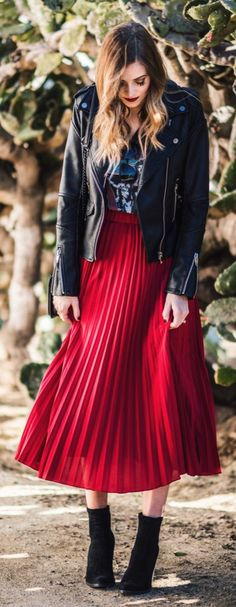Black Leather Jacket / Red Pleated Maxi Skirt / Black Suede Booties