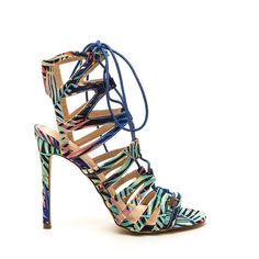 MULTI New Event Tropical Print Lace-Up Heels ($38) ❤ liked on Polyvore featuring shoes, pumps, heels, multi, heels stilettos, strappy stilettos, high heel pumps, print pumps and stiletto shoes