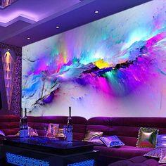 NEBUGLO 3D wallpaper mural abstract art of colorful clouds fresco 3d Wallpaper Mural, Textured Wallpaper, Photo Wallpaper, Wallpaper Ideas, Wall Painting Living Room, Mural Painting, Mural Art, Wall Murals, Restaurant Club