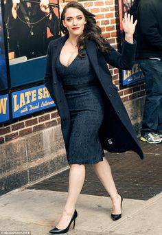 Turning heads: Kat Dennings looked sexy and smart to tape an appearance on Late Show with David Letterman on Tuesday in New York