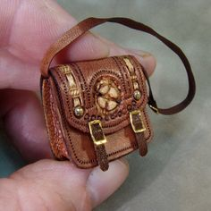 Dollhouse Miniature Leather Satchel Steampunk Design-Made to Order