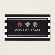 Luxury Striped Cupcake Trio Bakery Business Card