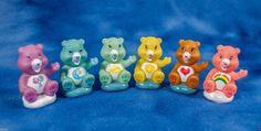 "mini plastic CARE BEARS set of 6 cake decoration, figures, game pieces 1.75"" #CareBears"
