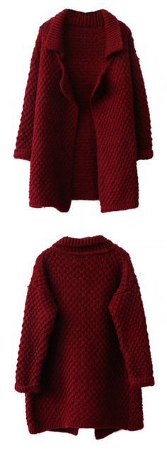 Burgundy Lapel Chunky Knit Cardigan