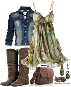 """Country Chic"" by amabiledesigns on Polyvore. I love the dress and coat. The boots are a little too cowboy bootish for me, but the rest is cute!"