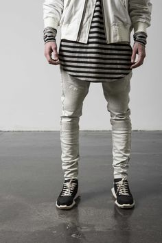 Men's outfit: White Distressed Biker Denim and Striped T-shirt