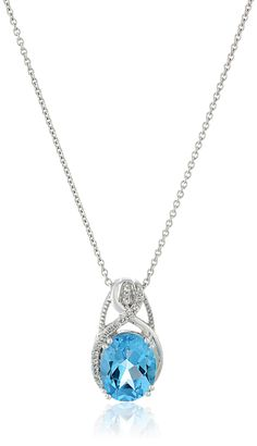 """Sterling Silver Swiss Blue Topaz Oval Shape With Created White Sapphire Fashion Pendant Necklace , 18"""". Imported."""