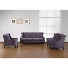Armen Living Barrister Sofa - Gray Velvet/Black Piping