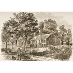 Pepperell Near Boston Massachusetts In Home Of Historian William Hickling Prescott From American Pictures Drawn With Pen And Pencil By Rev Samuel Manning Circa 1880 Canvas Art - Ken Welsh Desig William And Mary, Pens And Pencils, Boston Massachusetts, Antique Prints, Pictures To Draw, Historian, Welsh, Dresser, Coloring