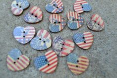 Stars and Stripes USA Wooden Heart Buttons  Sewing  by TypeWright
