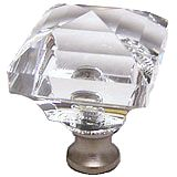 Square 1-1/4'' Crystal Knob with Satin Nickel Base