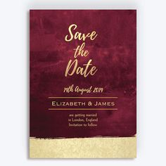 This burgundy and gold wedding invitation is perfect for couples who want a simple and elegant wedding, with a dark red or burgundy colour scheme. Reception Invitations, Gold Wedding Invitations, Invites, Gold Save The Dates, Save The Date Cards, Evening Wedding Receptions, Gold Color Palettes, Burgundy And Gold, Wedding Signs