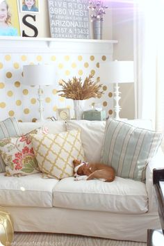 Sleep pup + Christmas Gold + Home for the Holidays #houseofsmiths #polkadotwall