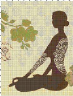 0 point de croix femme yoga - cross stitch woman yoga