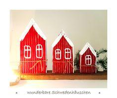Deko-Objekte - 3 Schweden - Häuschen Holz skandinavisch Schweden - ein Designerstück von uggla-deko bei DaWanda